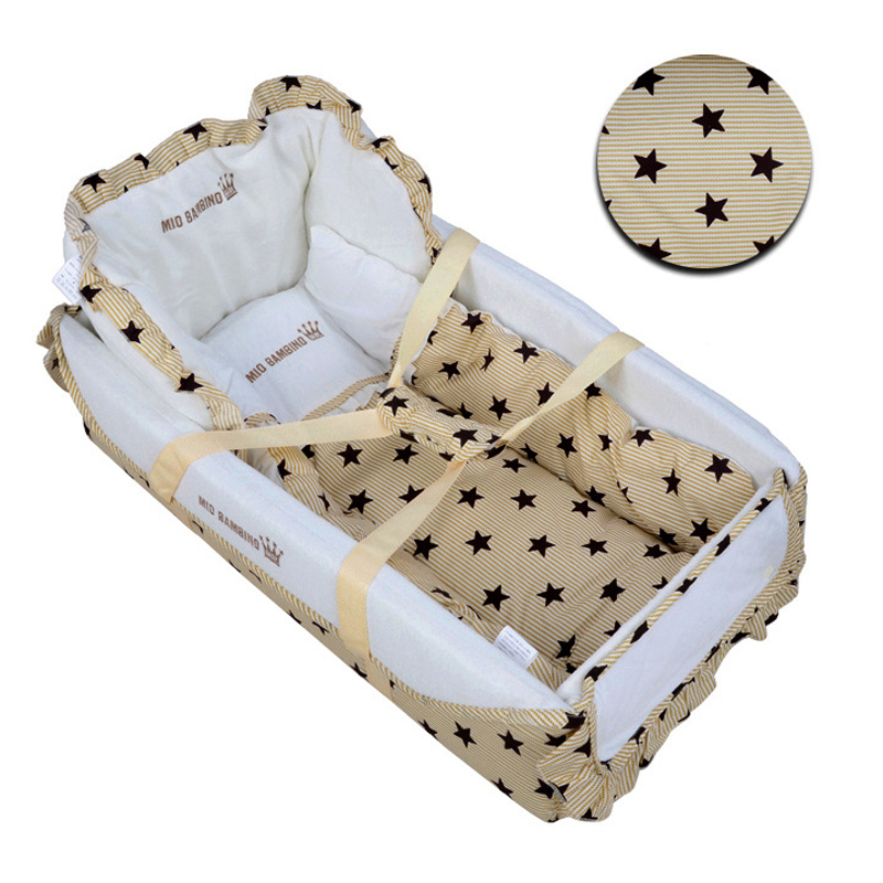 ФОТО High Quality Baby Safety Portable Folding Crib Playpens Newborn Travel Bed Cot Infant Cotton Sleepping Bed Basket For 0-6Months