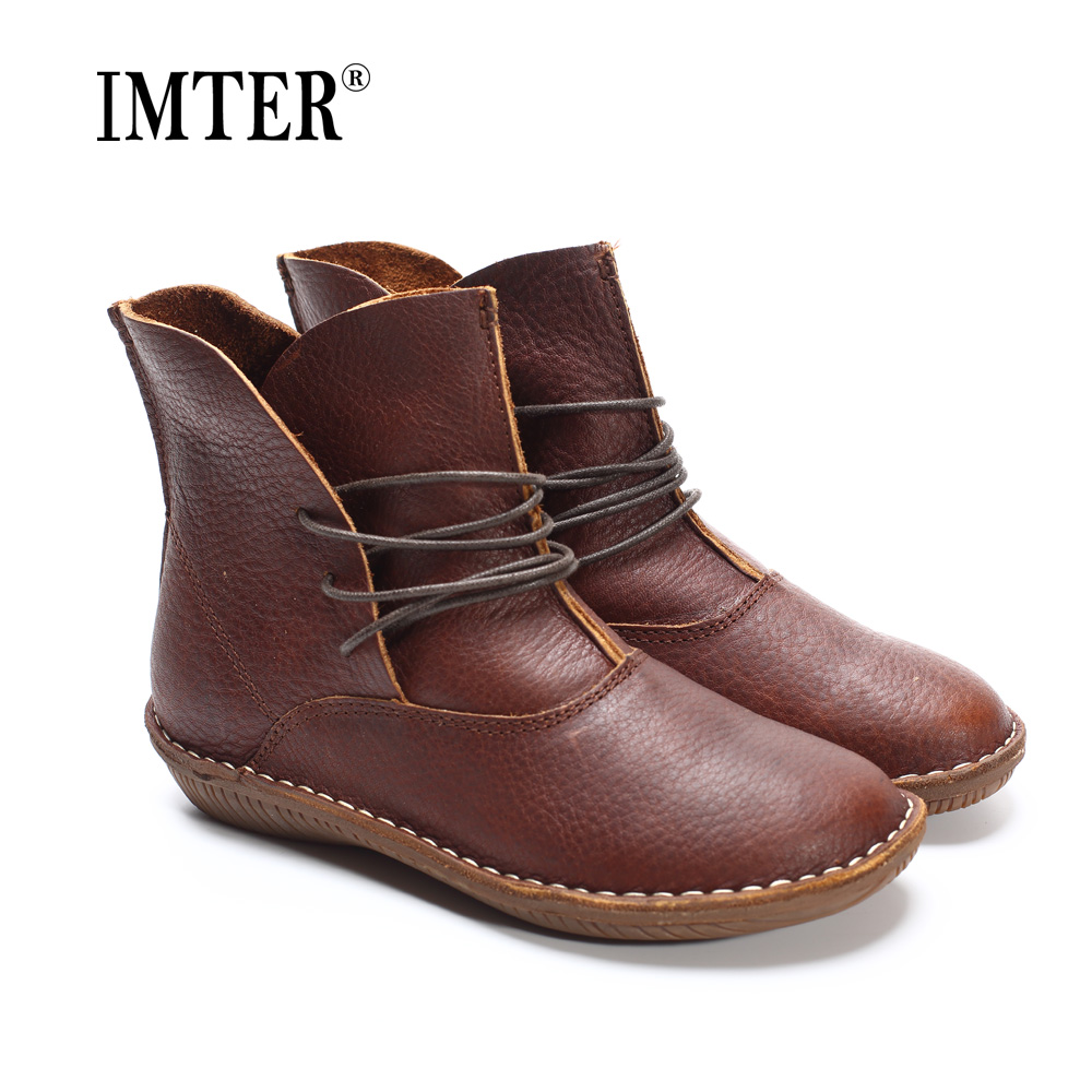 (35-41)Women Boots Genuine Leather Shoes Brown/Black Flat Ankle Boots Round toe lace up Spring/Autumn Shoes Brand Designer(506) brown men ankle boots spring autumn genuine leather cowboy boots pointed toe lace up mens military boots safety shoes footwear