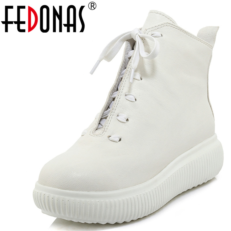 FEDONAS1New Women Ankle Boots Genuine Leather Autumn Winter Flats Cross-tied Round Toe Quality Brand Casual Sneakers Shoes Woman asumer white spring autumn women shoes round toe ladies genuine leather flats shoes casual sneakers single shoes