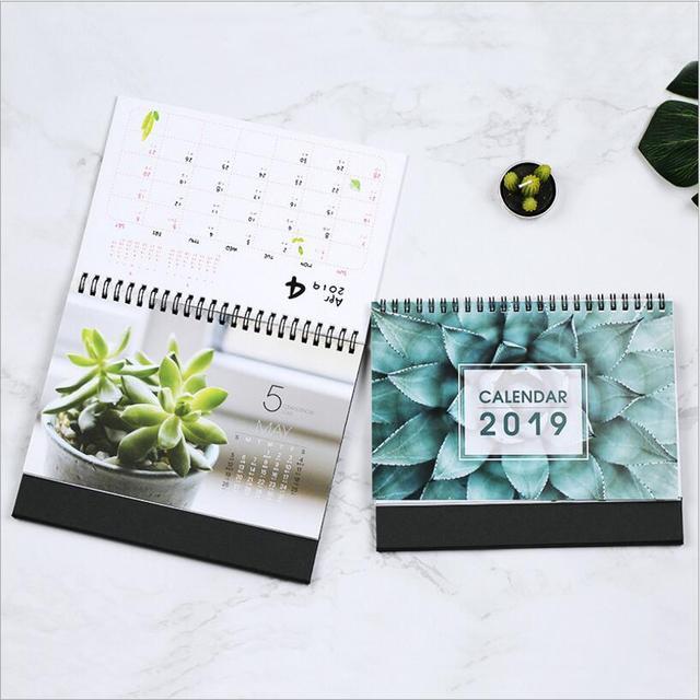 2019 year multi function Cartoon/Plants/Pink desk calendar Desktop - multi year planner