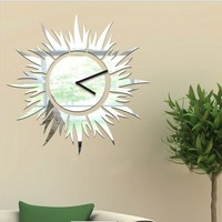 Free Shipping Sunshine 3D Wall Clock Mirror Sticker Clock Mirror Sticker Living Room Bed Room Receipt