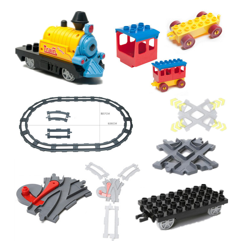 Bulk Train Building Blocks Accessory Coach Cross Track Swtich Railway Bricks Parts DIY Baby font b