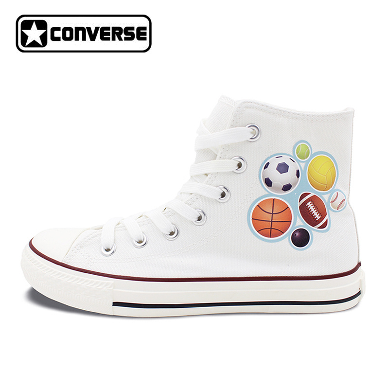 Personalized Shoes Converse Chuck Taylor Kinds of Sports Balls High Top Canvas Sneakers Men Women цена