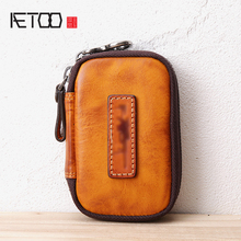 AETOO Retro Mens leather key pack large capacity multifunctional Key car Remote Control Package drivers license package