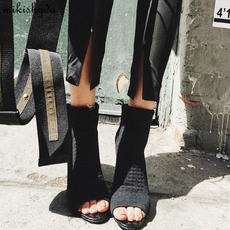 Luxury Design Knitted Peep Toe Boots Summer Sock Ankle Women Elastic Stretch Botas High Heels Pumps Ladies Dress Bota Feminina blue jeans bota feminina 2017 summer shoes ankle boots for women cowboy denim high heels sexy peep toe tear hollow out sandals