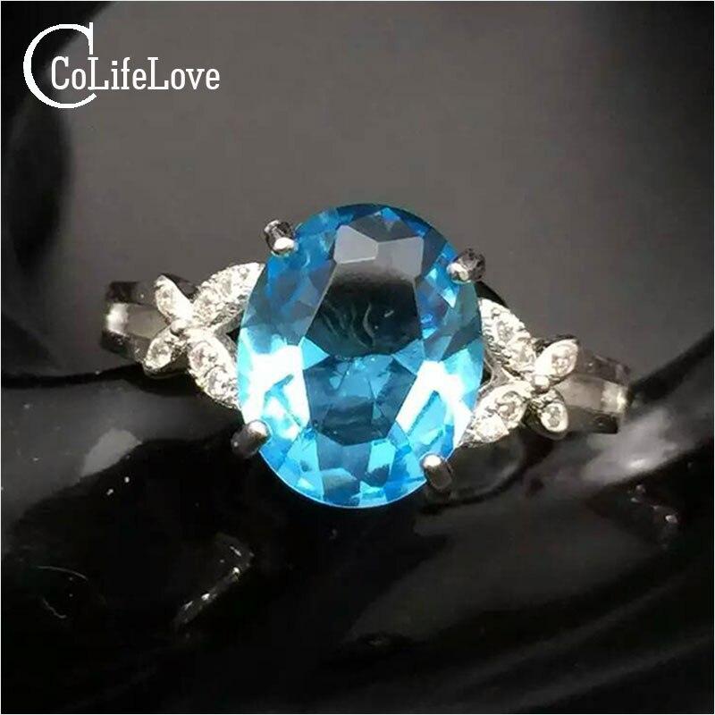 Bague topaze bleu clair naturel 8*10mm topaze solide 925 bagues en argent sterling pour les femmes cadeau saint valentin bague en argent avec pierres précieuses