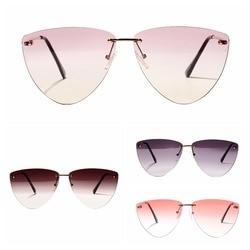 Women men Rimless Cat Eye Diamond-shaped Frameless Clear Colored Lens Festival Sunglasses Glasses