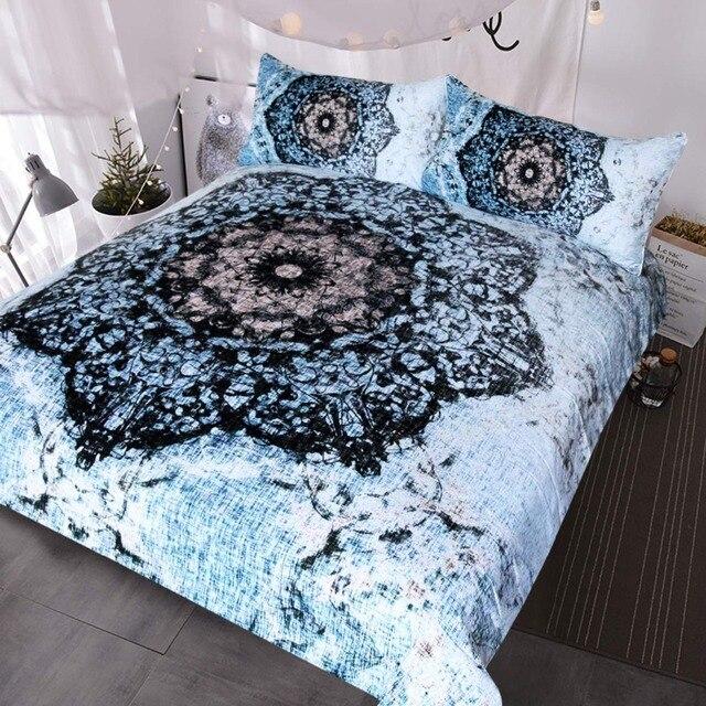 e438ef703364 Lotus Flower Tie Dye Bedding 3 Piece Watercolor Blue Tye Dye Bed Set Super  Soft Vinatge Hippie Duvet Cover