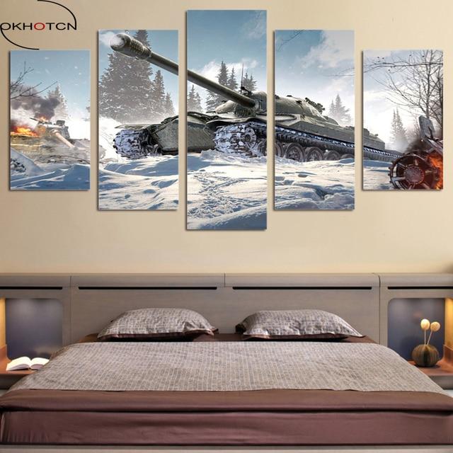 okhotcn modernes dekor rahmen wohnzimmer wandkunst 5 stcke bilder krieg world of tanks leinwand malerei hd - Modernes Wohnzimmer Wandkunst