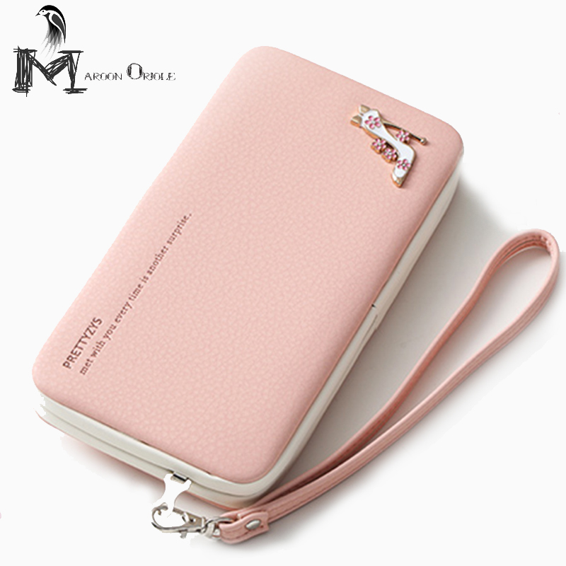 Womens Wallets PU Leather Wristlet Clutch Handbag Phone Wallet Case with Card Slots for iPhone 6S/7 Hasp Clutch PT15-300L glossy leather wallet stand cover with 5 card slots for iphone 7 4 7 white