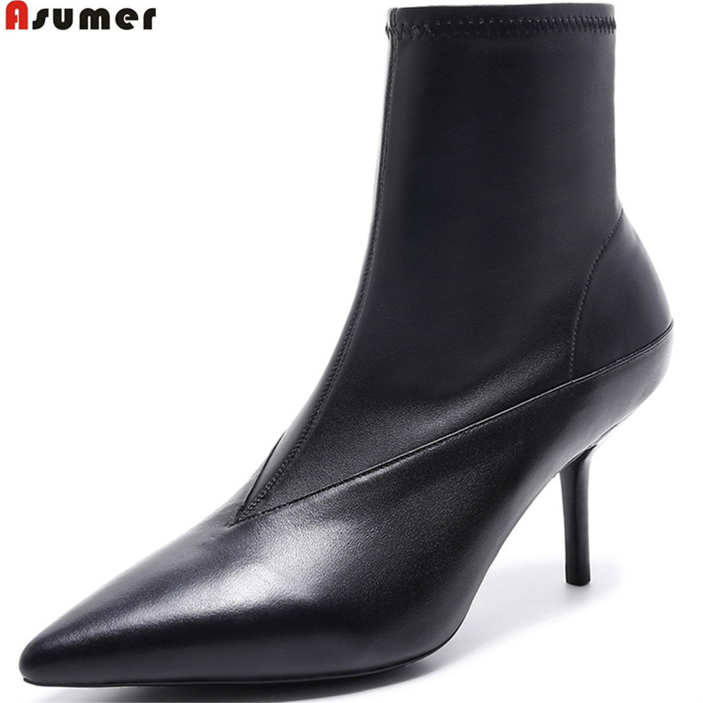 ASUMER black fahsion new arrive women boots pointed toe zipper genuine leather boots thin high heel shoes autumn ankle boots asumer black white fashion new women boots pointed toe genuine leather boots zipper cow leather ankle boots low heel shoes