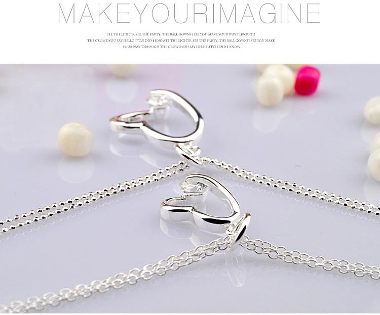 heart pendants  necklace,925 sterling silver women fashion necklace - Fine Jewelry - Photo 3