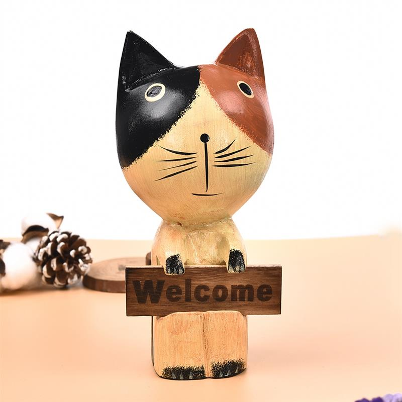 Creative Wooden Welcome Cat Figurine Statue Ornament Animal Crafts Home Garden Decoration Kids Toy Gift
