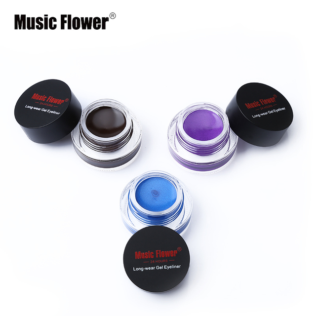 New Brand Music Flower Black Waterproof Eyeliner Gel Makeup Cosmetic Gel Eye Liner With Brush 24 Hours Long-lasting For Women 1