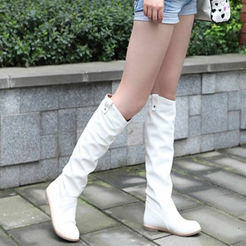 Spring autumn boots flat round toe non-slip knee high fashion zapatos mujer white Red size 8.5 women's shoes