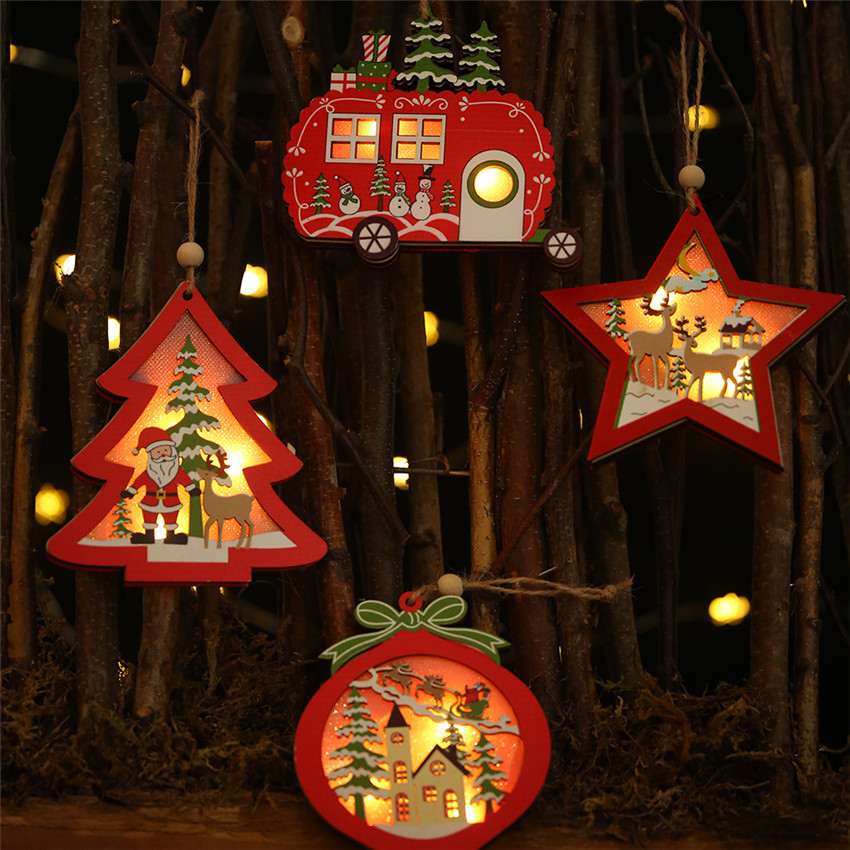 LED light Christmas Tree Star car Wooden Pendants Ornaments Xmas DIY Wood Crafts Kids Gift for Home Christmas Party Decorations|Pendant & Drop Ornaments|   - AliExpress