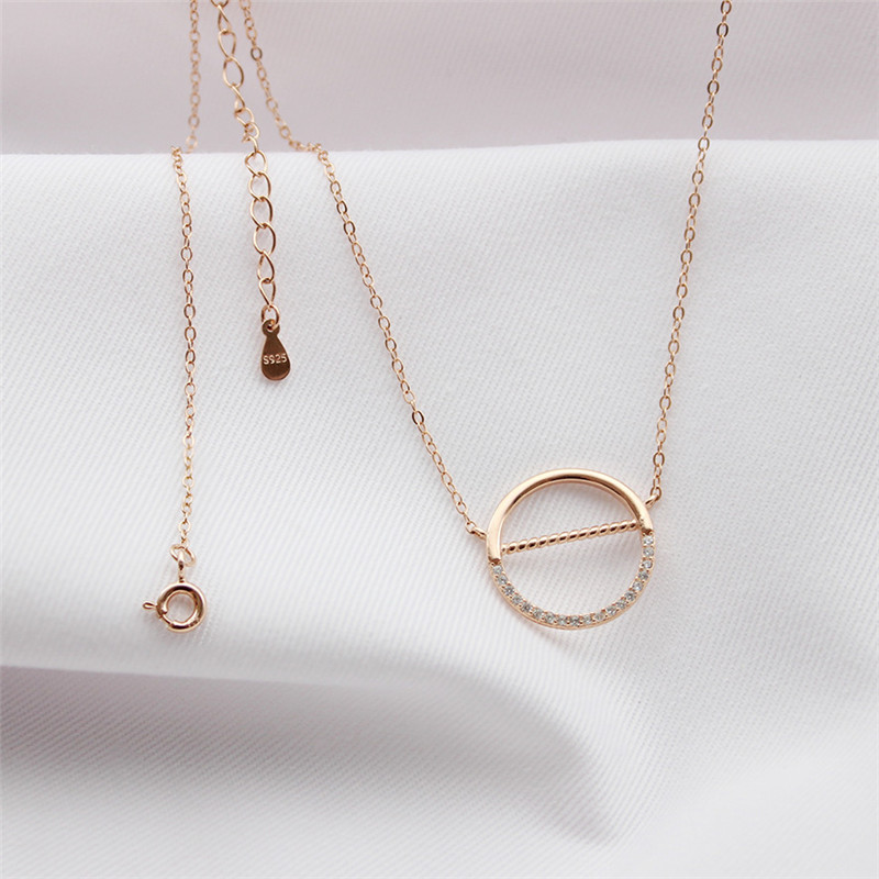 925 Sterling silver Pendant necklace Circular Set auger Women 39 s fashion jewelry wholesale Holiday gifts in Pendant Necklaces from Jewelry amp Accessories