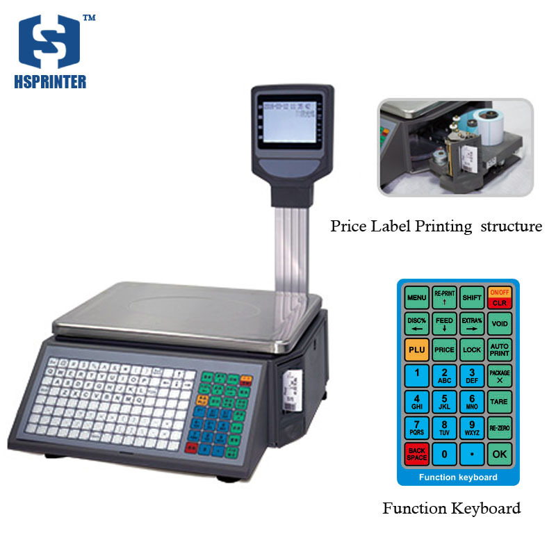 1/3000 accurate 30 kg price barcode printing Electronic weighing scale thermal with LCD display for supermarket or meat shop стоимость