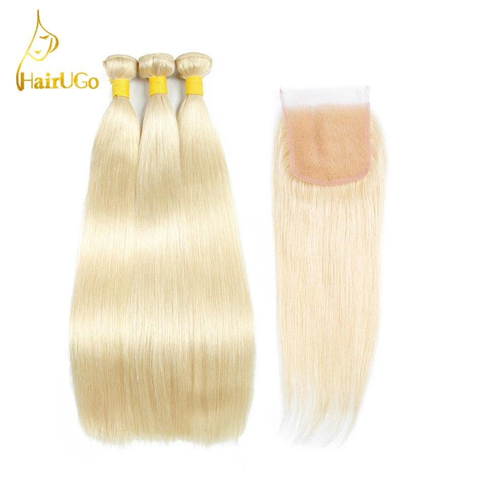 Hairugo волос бразильский прямые светлые Цвет Человеческие волосы Связки расширением 3 Связки с 4*4 Синтетическое закрытие шнурка волос не Воло...