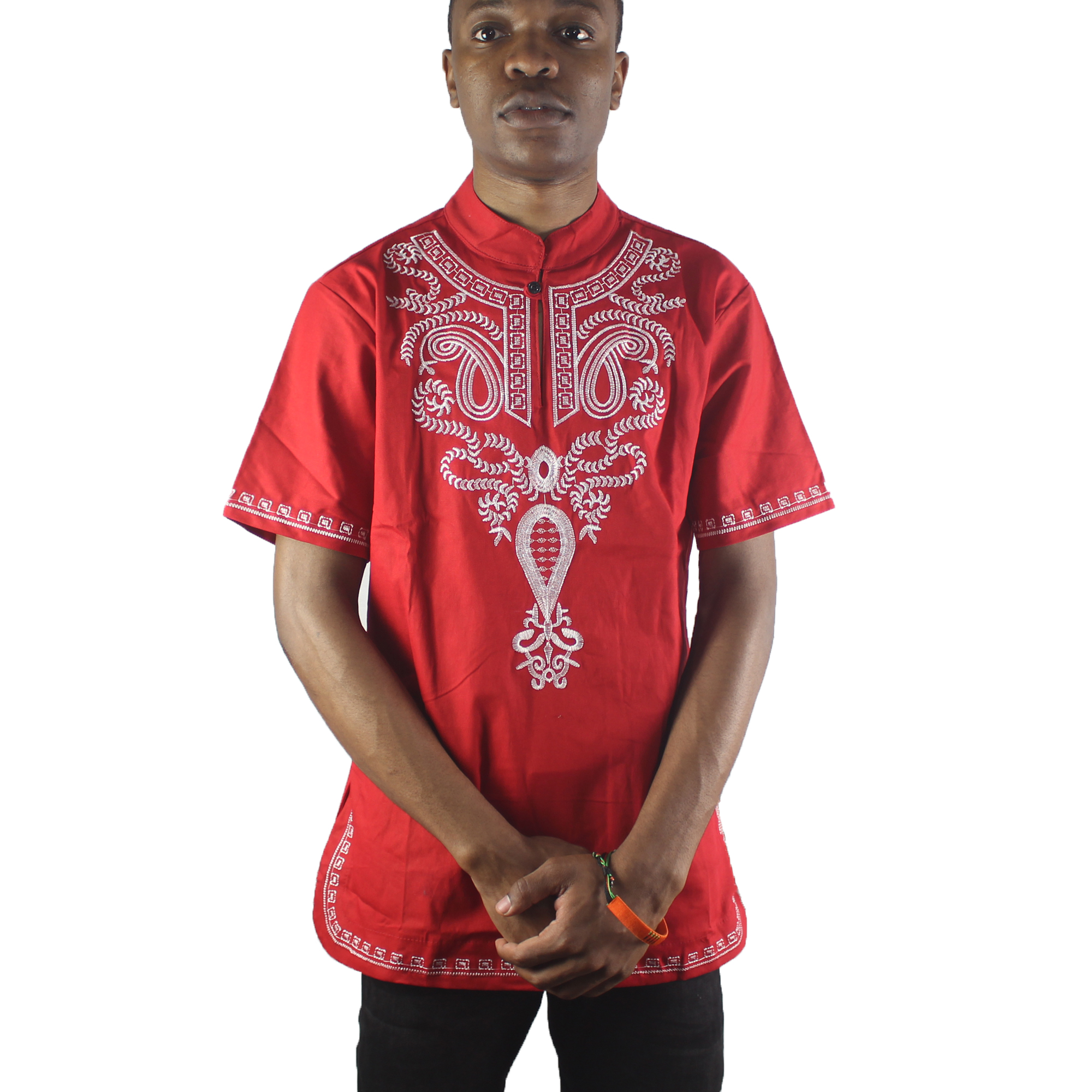 Africa Red Lucky Pattern Embroidery Men`s Dashiki Tops Mandarin Collar Side Slit Ethnic Shirts for Wedding Wear