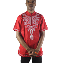 Africa Red Lucky Pattern Embroidery Men`s Dashiki Tops Mandarin Collar Side Slit Ethnic Shirts for Wedding Wear цена и фото