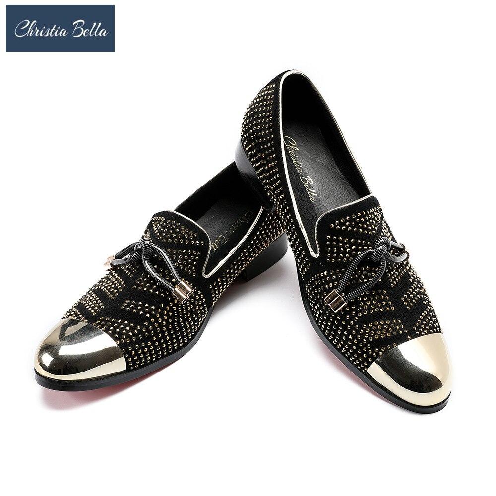 09182fcac4 Sapatos Bella De Homens Vestir Festa Flats Casamento Plus Chinelos  Mocassins Strass Negócios Moda Camurça Vermelho ...