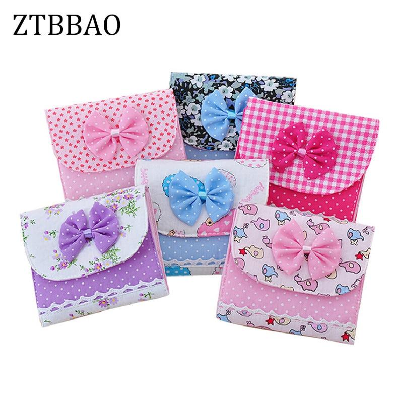 лучшая цена 1PCS Cute Women Cloth Menstrual Pads Menstrual Bowknot Cotton Sanitary Towel Napkin Pad Purse Holder Easy Bag Organizer