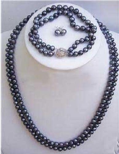 84d10b64ef45 Envío libre negro FW Perla 2 filas más noble collar pulsera pendiente  conjunto