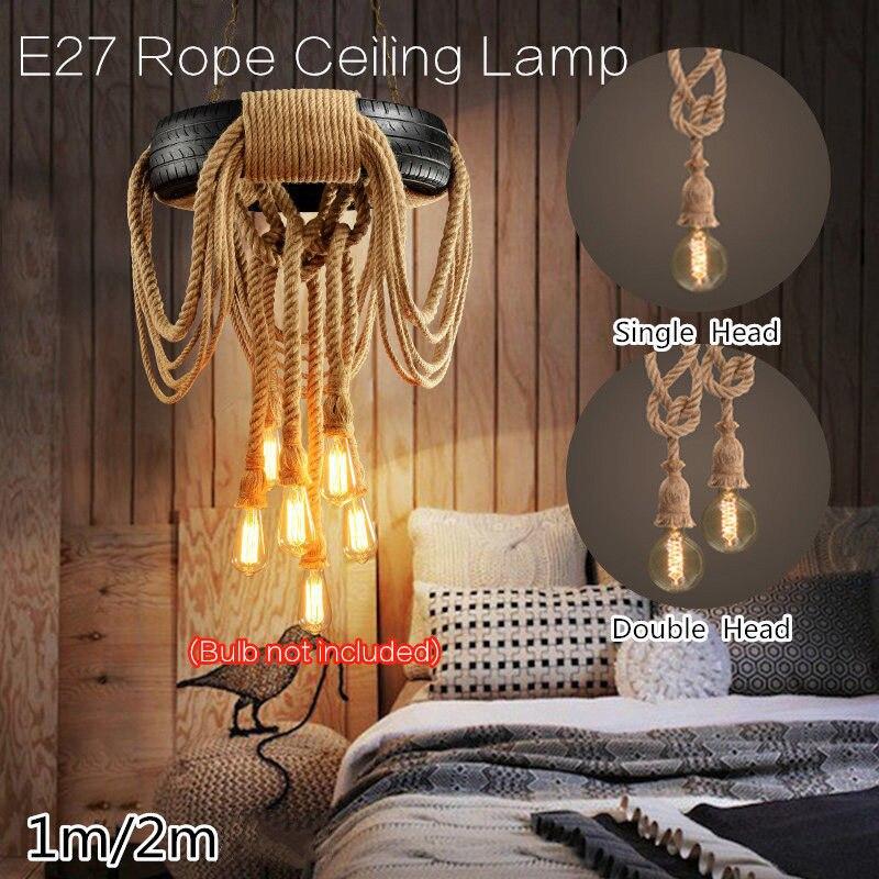 IKVVT E27 Industrial Rope Pendant Lamp Retro Vintage Edison Hemp Ceiling Light Fixture