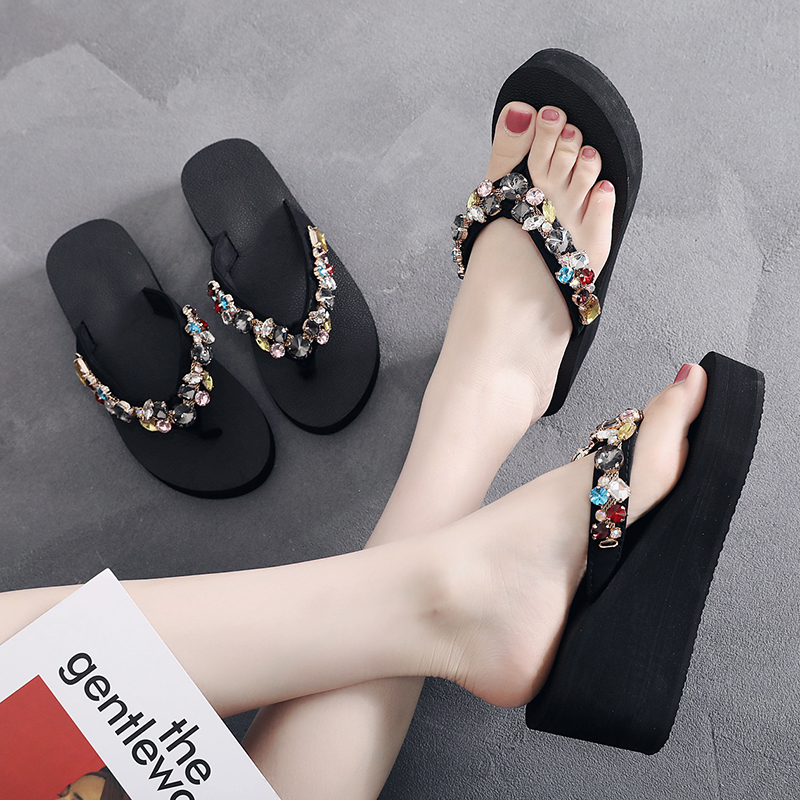 61844d3973ce Detail Feedback Questions about womens Flip Flops 6.5cm heel height Beach  Sandals Women s Slippers Female Flat Sandals Crystal DIY personalization  wholesale ...