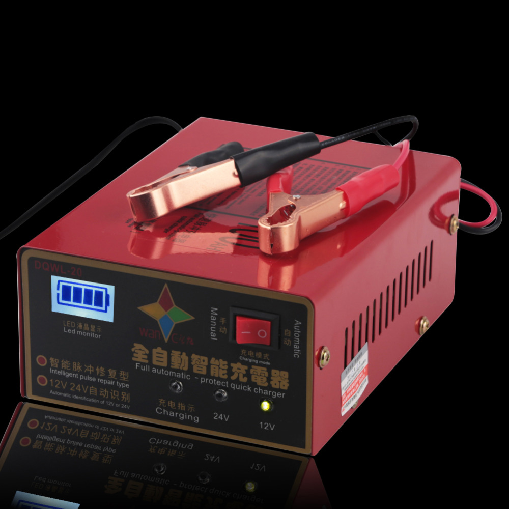 10A 6-105AH Lead Acid Battery Charger Motorcycle Car Battery Charger 12V 24V Automatic 110V-250V Overheat Short Circuit Protect