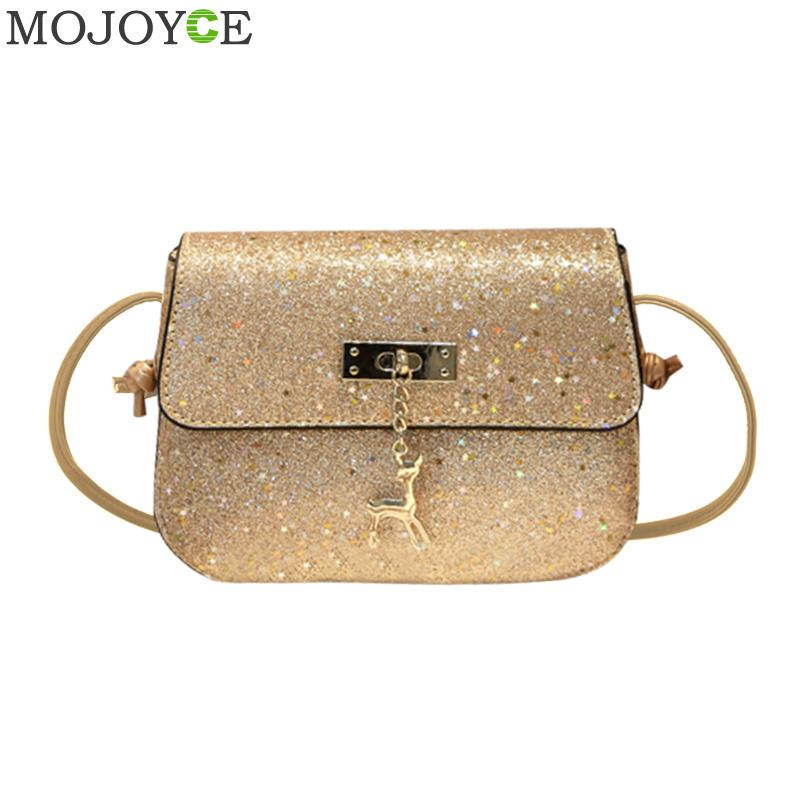 Shining PU Leather Women Crossbody Bag Luxury Handbags Women Bags Designer Evening Party Shoulder Bag Small Messenger Bags 2018
