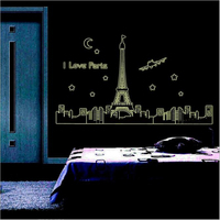Fluorescent Wall Stickers DIY Fashion Bedroom Decorative Wall Stickers Luminous Paris Tower