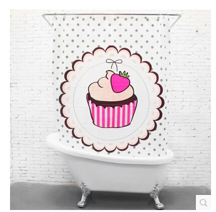 Kawaii Strawberry Cake Pattern Curtains For Shower Fabric EVA Waterproof Home Bathroom Curtains Home Decoration Fabric Liner Dec
