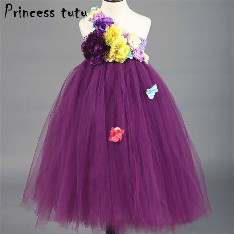Fancy Children Flower Girl Dress Purple Wedding Dress Ball Gown Prom Girls Party Dresses Kids Clothes Vestido Infantil W010