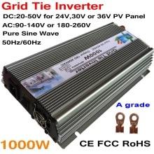 цена на 1000W 30V 60cells/36V 72cells MPPT Grid tie inverter 20-45VDC to AC180-260V or 90-140V on grid tie micro inverter 1000W