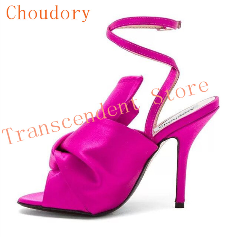 Choudory Silk Upper Fashion Knot Women Dress Sandals Solid High Heel Women Party Shoes Bright Color Buckle Strap Leather Sandals