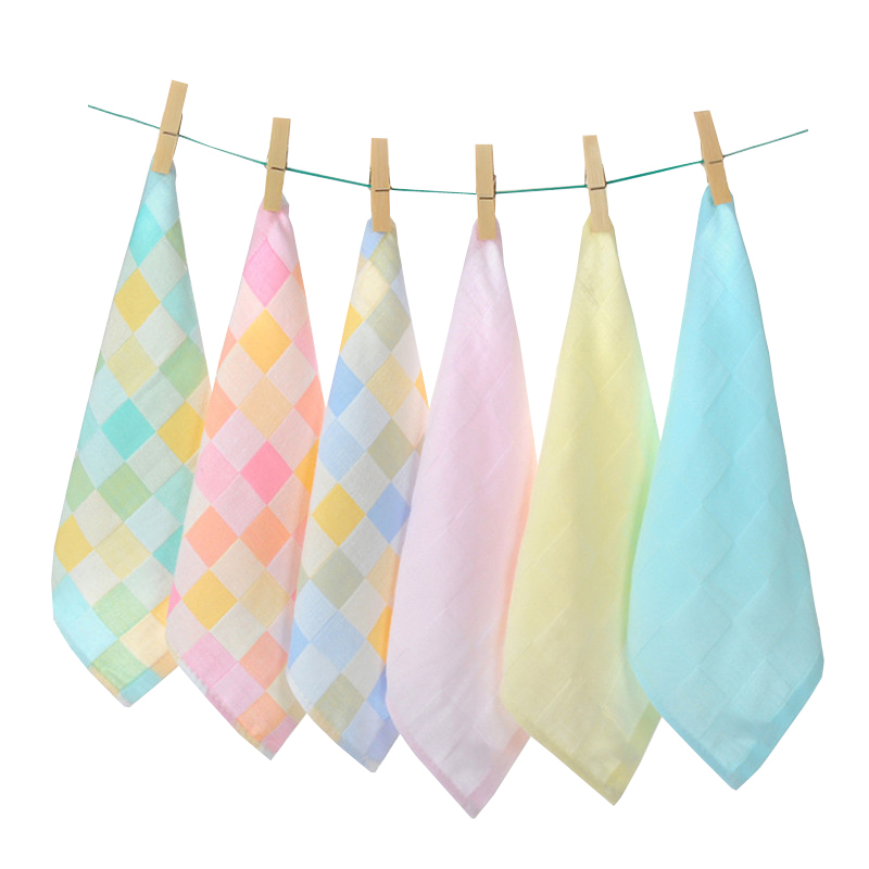 6 Pieces / Lot Children Plaid Towel Cotton Gauze Absorbent Printed Square Towels Drying Washcloth Handkerchief AD0430