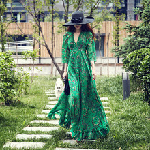 купить Women Floral Dress Print Flowy Sexy V-Neck Beach Boho Chic Maxi Dress Casual High Waisted Party Feminino Vestidos Dresses онлайн