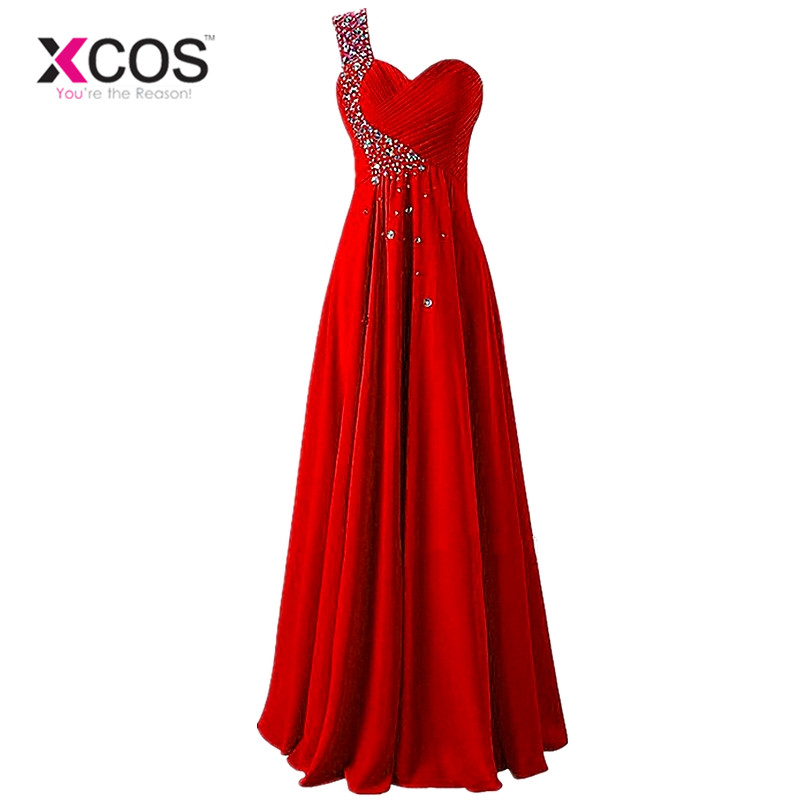 XCOS Free Shipping One Shoulder Mint Green   Bridesmaid     Dress   Long Women Wedding Party   Dresses   Pleat Floor Length vestido madrinha
