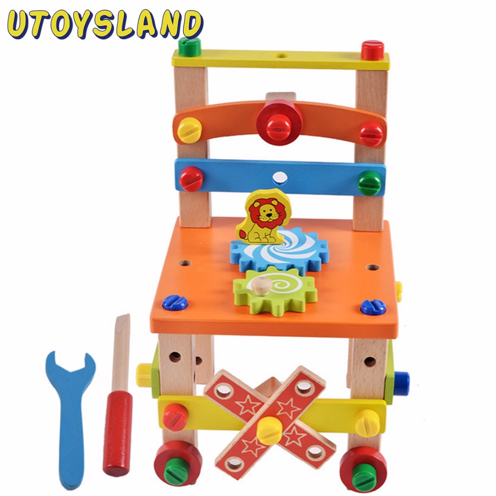 UTOYSLAND Wooden Assembled Chair Multifunction Tool Nut Disassembling Combined Toy Assembly Model Puzzle Toys for Children Kids