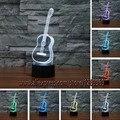 Guitarra 3D festival de Música De decoração para casa luz noturna 7 Cores Mudar Toque Led candeeiro de mesa Presente das Crianças Quartos sala de estar