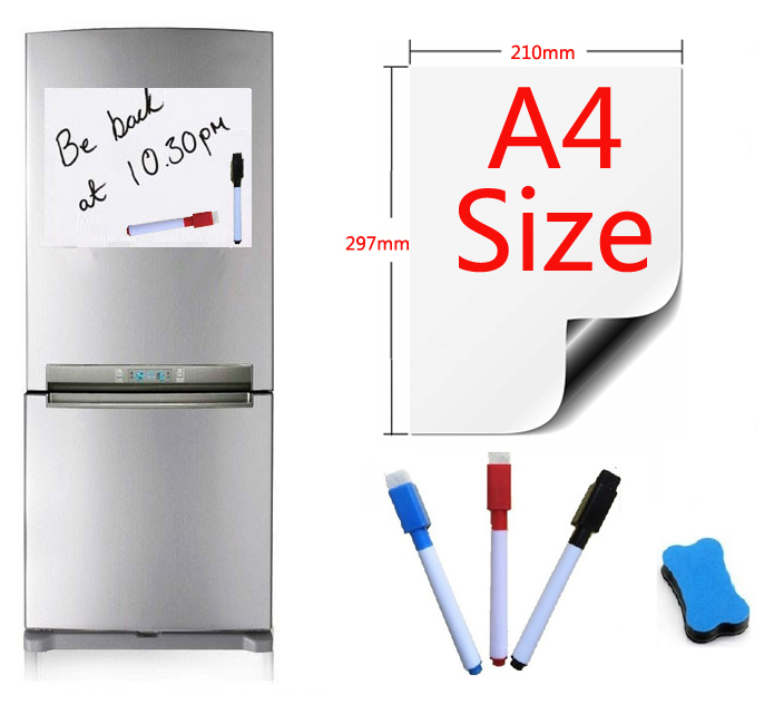 Magnetic Whiteboard Fridge Presentation Writing-Sticker Kitchen Home 1-Eraser-3pen A4-Size