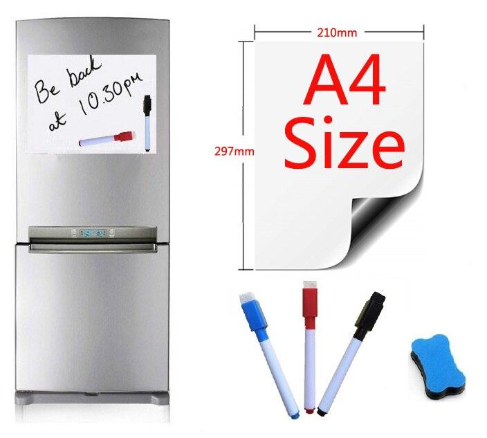 A4 taille magnétique tableau blanc aimants pour réfrigérateur tableaux de présentation maison cuisine tableaux d'affichage écriture autocollant aimants 1 gomme 3Pen