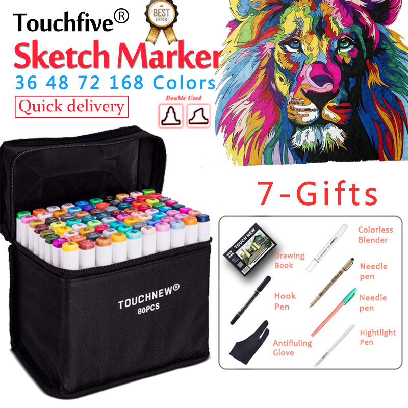 TouchFIVE 36/48/72/168 Colors Set Art Markers Alcohol Dual Headed Brush Pen School Markers Pen For Drawing Manga fashion Design