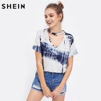 SheIn O Ring Choker Neck Tie Dye T Shirt Navy Short Sleeve V Neck T Shirts