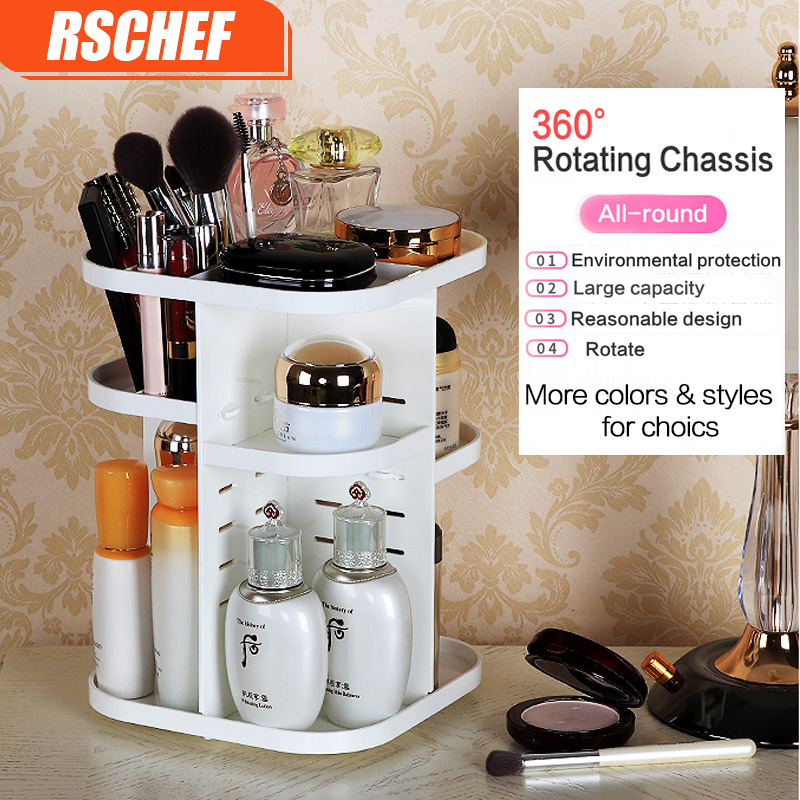 RSCHEF Fashion 360 degree Rotating Makeup Organizer Box Brush Holder Jewelry Organizer Case Jewelry Makeup Cosmetic Storage Box