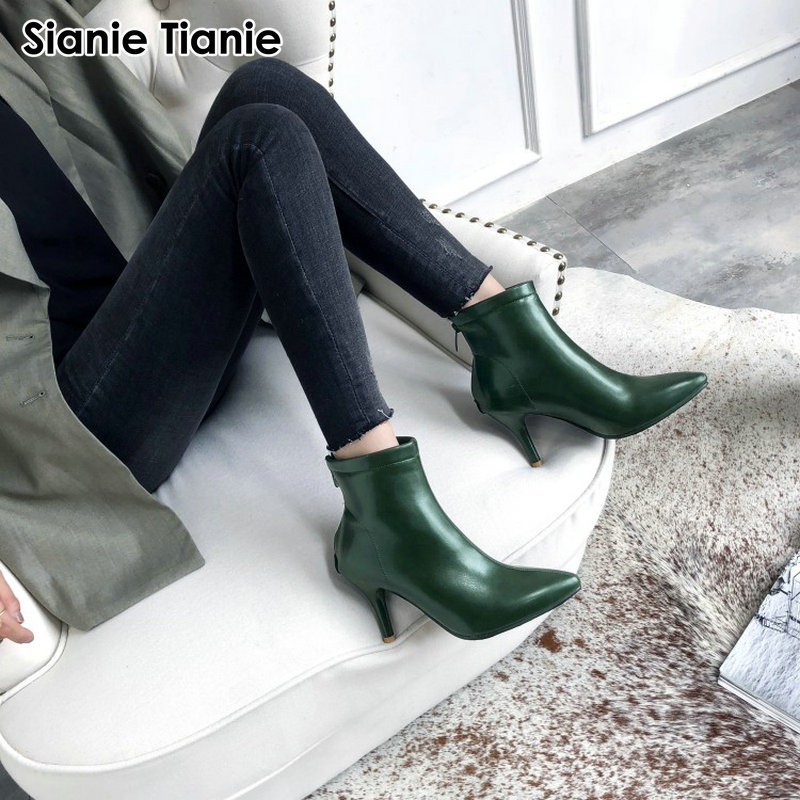 cbc3c4f3023 Detail Feedback Questions about Sianie Tianie 2019 Winter Autumn Spring New  Pointed Toe Fashion Woman Boots Thin High Heels Pumps Green Black Ankle  Boots ...
