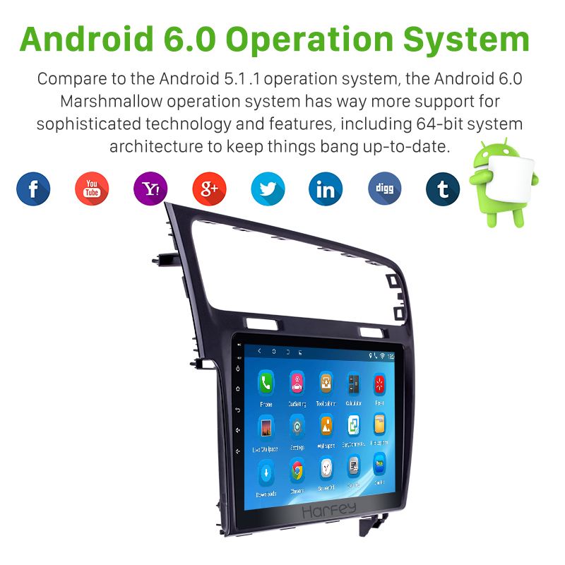 Harfey Android 8.1 10.1 HD Touch Screen Car radio GPS Navigation For 2013 2014 2015 VW Volkswagen Golf 7 Support Bluetooth wifi