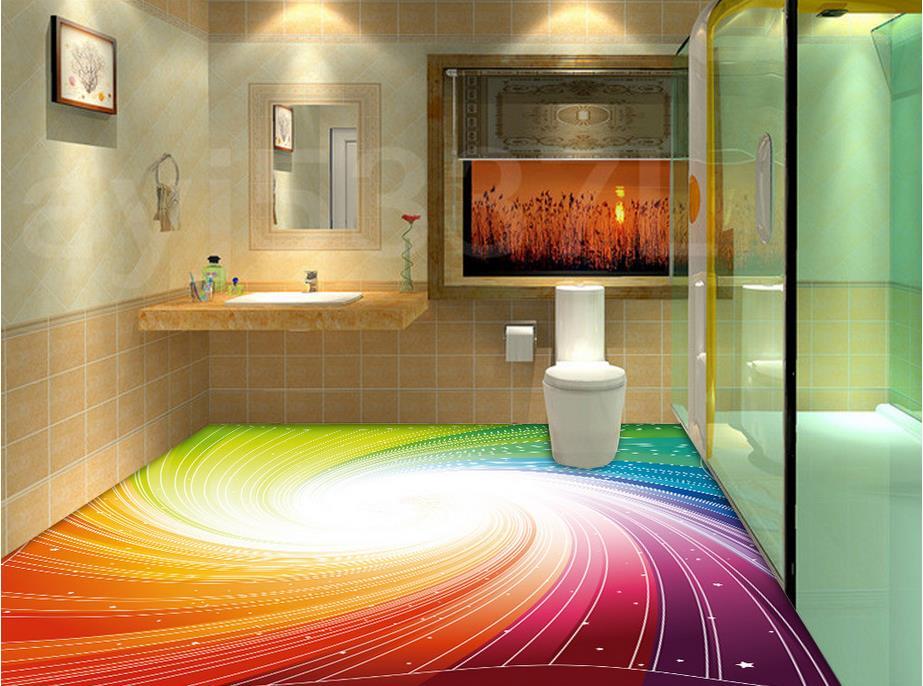 3D three dimensional abstract bathroom floor pvc wallpaper ...